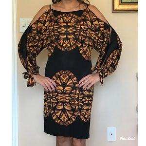Mara Hoffman- silk Cold Shoulder tie sleeve dress